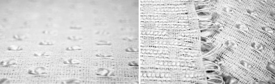 Papiergewebe: Papirgarn und Rohseide von Hand verwebt