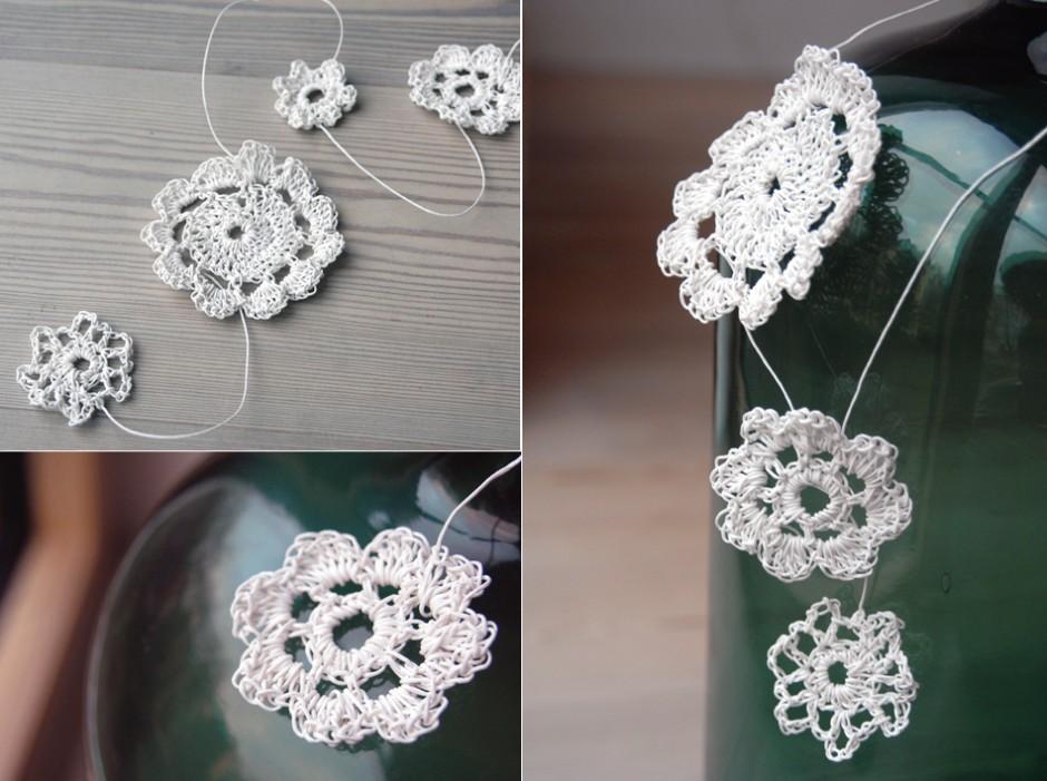 Papierkordel: Papierblumen Häkelblumen aus Papiergarn Papierschmuck