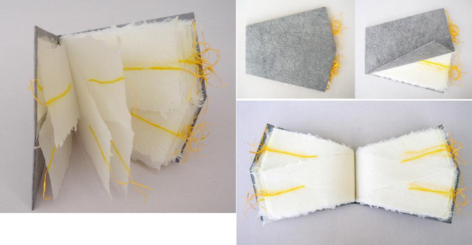PaperPhine: Künstlerbuch, handgeschöpftes Buch mit Shifu - Papiergarn