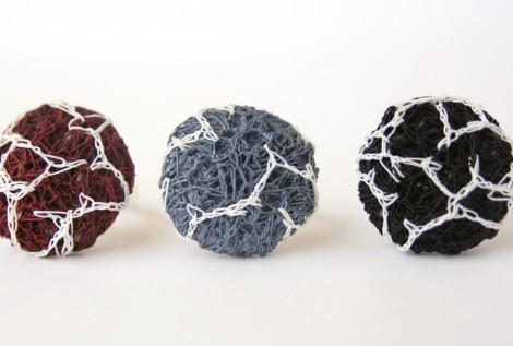 PaperPhine: Button Ring - gehäkelter Papierring - Papiergarn