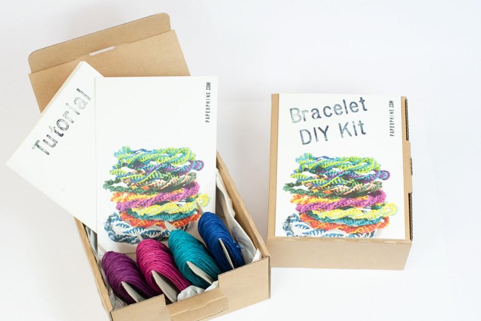 PaperPhine: Papiergarn DIY KIT: Freundschaftsbändchen - Knüpfen, Macrame, Selbermachen - Papierschmuck - Papierkordel